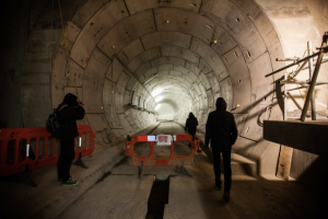 Sneaky thrills: Creeping towards the mouth of a freshly bored Crossrail tunnel. Photo: anonymous participant.