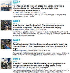 "Counter-spectacle or just the same old spectacle? Results for the search term ""rooftopping"" on the website of the Daily Mail."