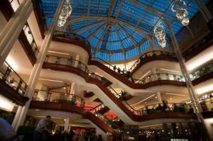 Interior of the shopping mall at the Princes Square Shopping Centre, Glasgow